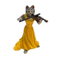 Austrian Bronze Cat Lady with Violin Figurine