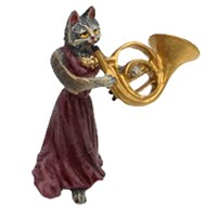 Austrian Bronze Cat Lady with French Horn Figurine