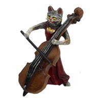Austrian Bronze Cat Lady with Bass Figurine
