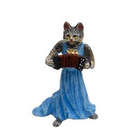 Austrian Bronze Cat Lady with Accordion Figurine