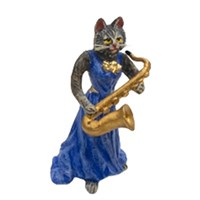 Austrian Bronze Cat Lady with Saxophone Figurine