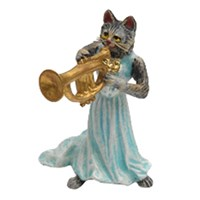Austrian Bronze Cat Lady with Trumpet Figurine