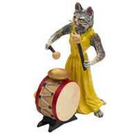 Austrian Bronze Cat Lady with Drum Figurine