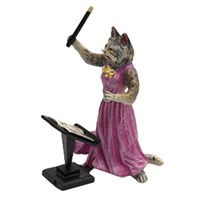Austrian Bronze Cat Lady Conductor Figurine