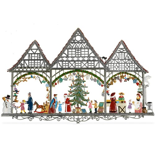 Pewter Christmas Town Wall Hanging