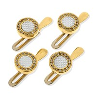 18k Gold Studs with Mother of Pearl & Diamonds, Set of 4
