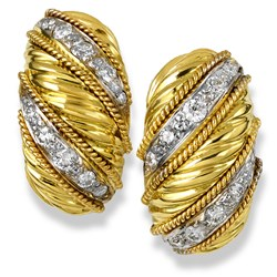 18k Swirl Banded Gold Earrings with Diamonds