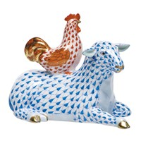 Herend Sheep & Rooster Figurine