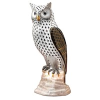 Herend Owl on Rock Figurine