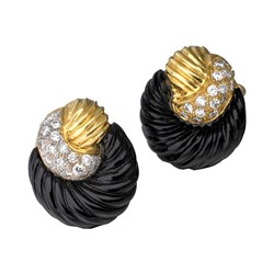 "18k Gold ""Circle Twist"" Onyx Earrings with Diamonds"
