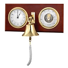 Barometer & Quartz Clock with Bell Brass & Mahogany