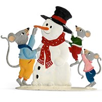 Pewter Three Mice with Snowman