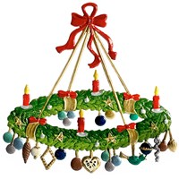 Large Pewter Advent Wreath with Gifts
