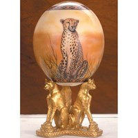 Decoupage Ostrich Egg with Cheetahs & Pewter Stand