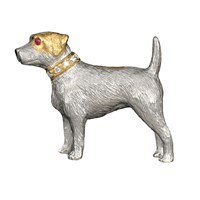 Sterling Silver Jack Russell Brooch Pin with 18k Gold Accents