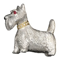 Sterling Silver Scottie Brooch Pin