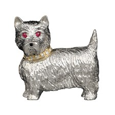 Sterling Silver Westie Brooch Pin