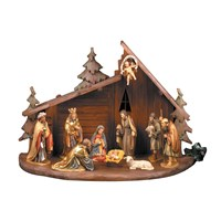 Handcarved Wooden Creche Large