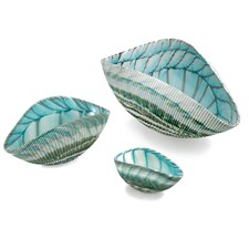 Murano Shell Bowls, Ivory & Turquoise