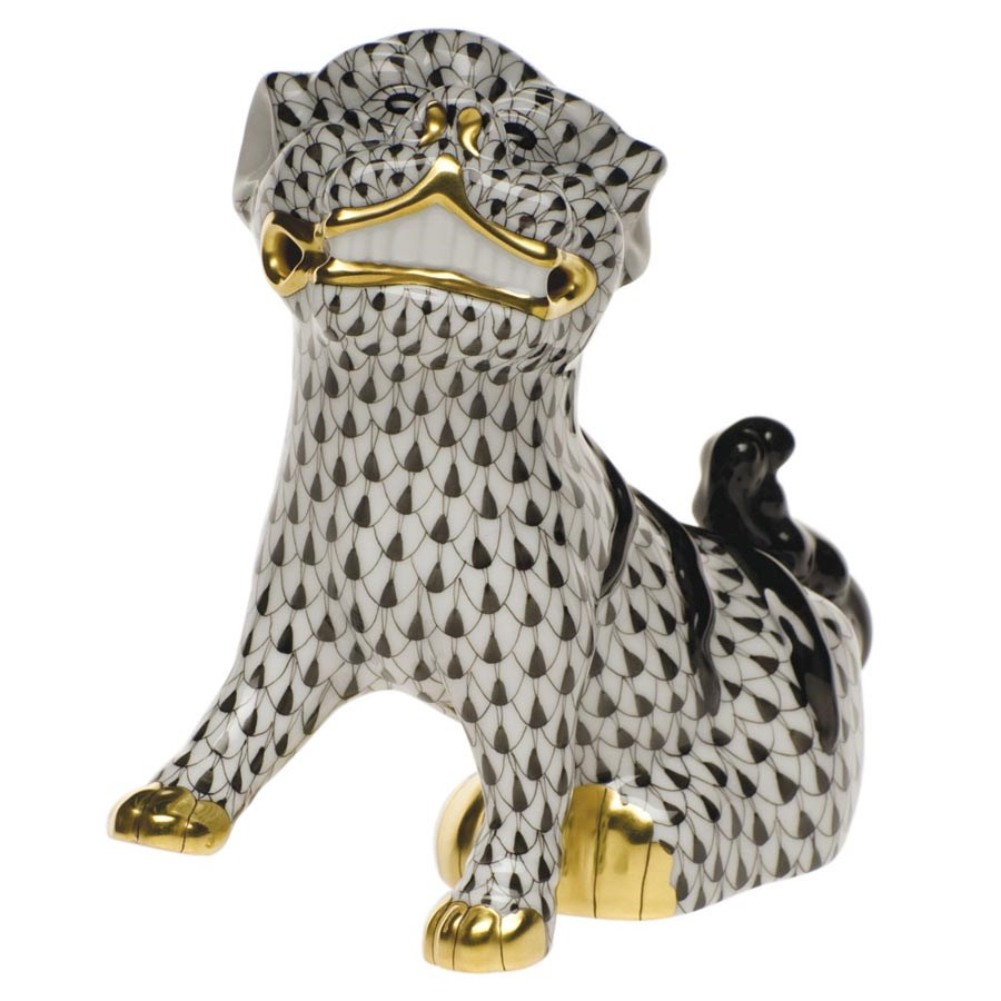 HEREND FLAWLESS STRUTTING KITTY // CAT PORCELAIN FIGURINE TURQUOISE FISHNET