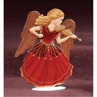 Pewter Angel Serenade Red Dress, Wings Down with Violin