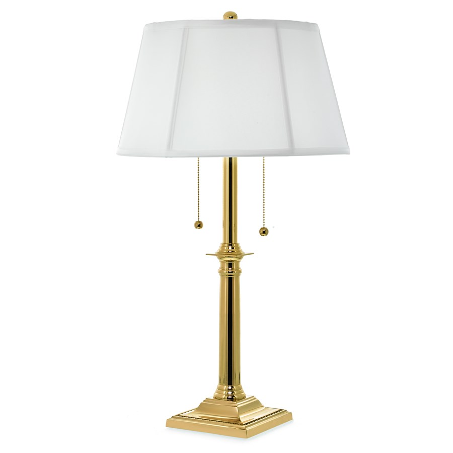Brass double pull chain table lamp table desk lamps for Home decorators lamps