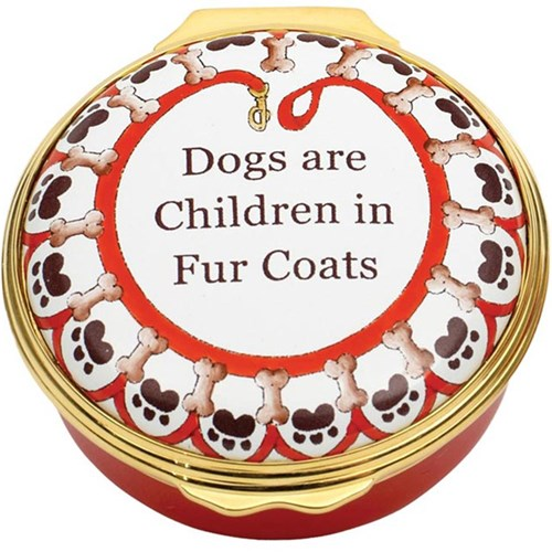 "Halcyon Days ""Dogs are Children"" Enamel Box"
