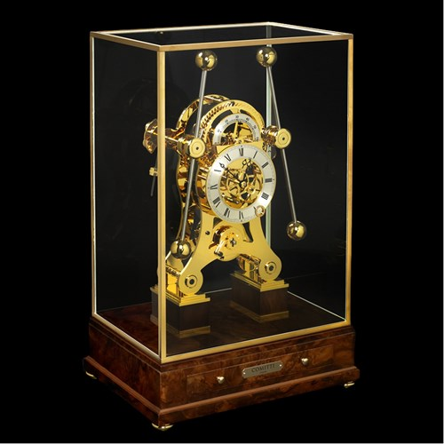 Grasshopper Clock Walnut Gold Trim