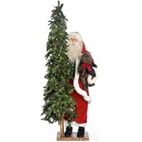 """Simple Gifts"" Standing Santa Claus with Lighted Christmas Tree and Teddy Bear"
