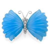 18k White Gold Butterfly Pin with Blue Chalcedony & Diamond