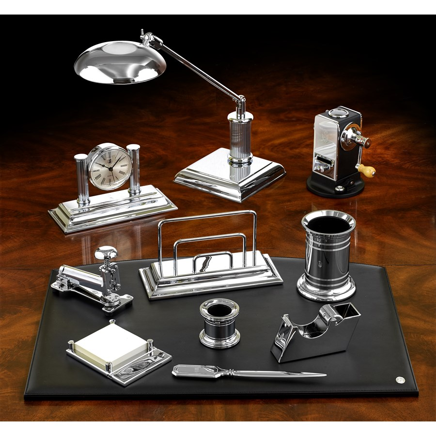 Desk Set Nickelplated Chrome Desk Sets Office Accessories Home Decor Scullyandscully Com