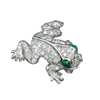 Platinum Frog Pin with Diamonds & Emeralds