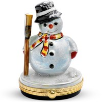 Snowman with Black Hat Limoges Box