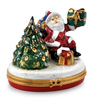 Santa Claus with Christmas Tree Limoges Box