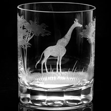 Queen Lace Crystal Double Old Fashioned Glasses, African Wildlife