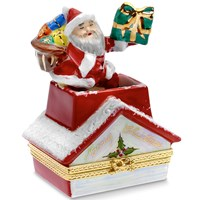 Santa Claus in Chimney Limoges Box