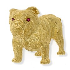 18k Yellow Gold Bulldog Pin