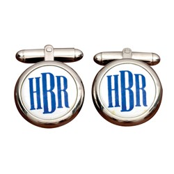Sterling Silver Monogrammed Cufflinks, Blue on White