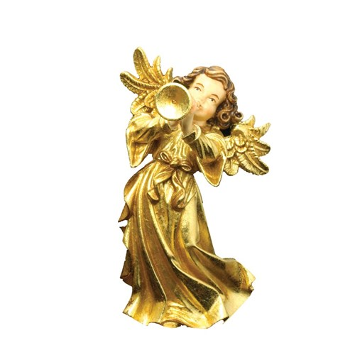 Golden Wood Angel with Trumpet