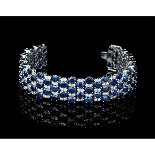 18k White Gold Sapphire & Diamond Checkerboard Bracelet