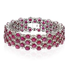 18K White Gold Ruby & Diamond Checkerboard Bracelet