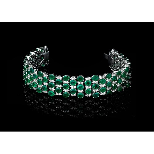 18k White Gold Emerald & Diamond Checkerboard Bracelet