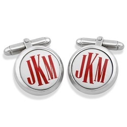 Sterling Silver Monogrammed Cufflinks, Red on White