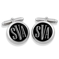 Sterling Silver Monogrammed Cufflinks, White on Black