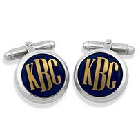 Sterling Silver Monogrammed Cufflinks, Gold on Blue