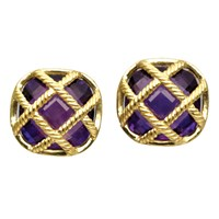 "18k Gold ""Fluted Lattice"" Amethyst Earrings"