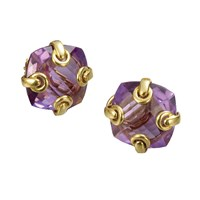 18k Gold Amethyst Earrings with Grommets