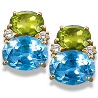 Blue Topaz and Peridot Gumdrop Earrings