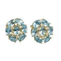 18k Blue Topaz Cluster Earrings with Diamonds