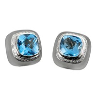 18k White Gold Frosted Rock Crystal, Blue Topaz, & Diamond Earrings